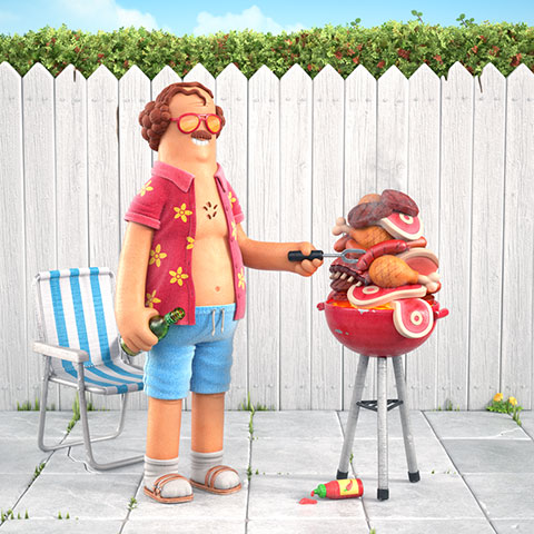 BBQ guy illustration
