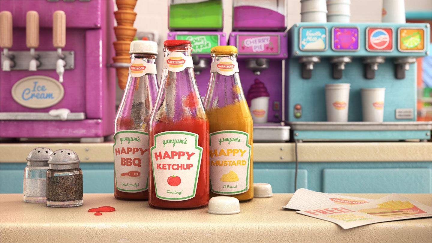 Close up shot of Happy Sauce from Happy Food animation
