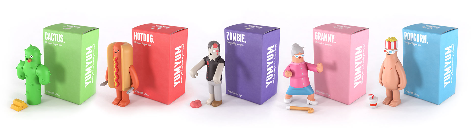 Yum Yum toy designs with packaging line up