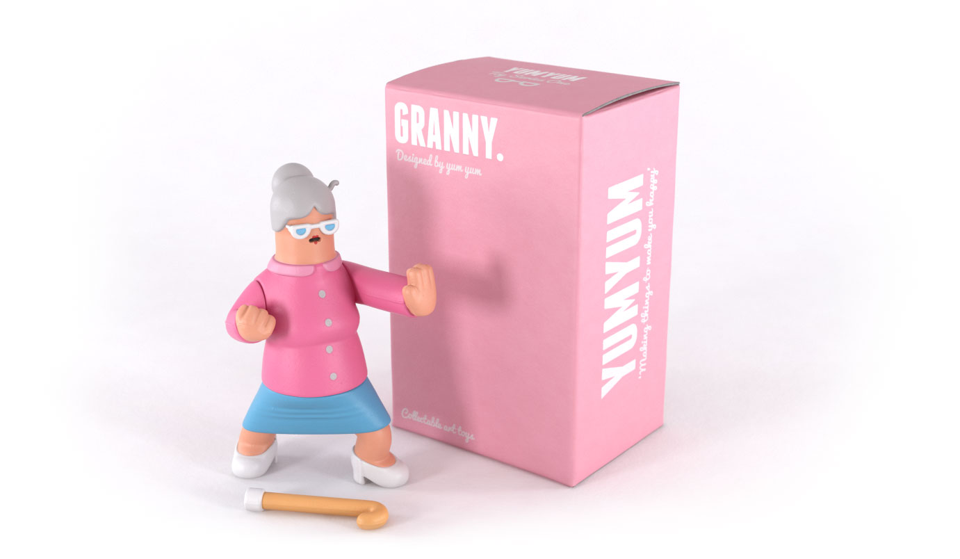Granny collectible art toy with box